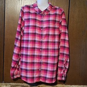 THE NORTH FACE PLAID FLANNEL SHIRT SZ LARGE